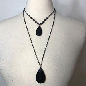 2 Strand Silvertone Black Bead Necklace Retro